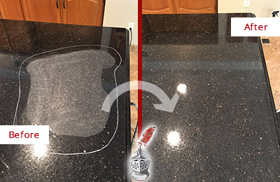 Before and After Picture of a Clever Hard Surface Restoration Service on a Granite Countertop to Remove Scratches