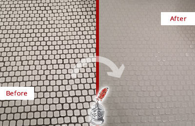 Before and After Picture of a Kissee Mills Hard Surface Restoration Service on a Bathroom Tile Floor Recolored to Fix Grout Color
