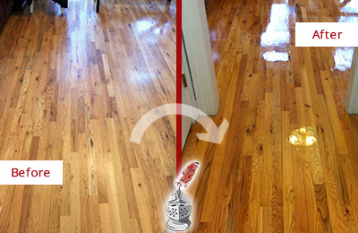 Before and After Picture of a Clever Hard Surface Restoration Service on a Worn Out Wood Floor