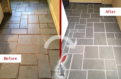 Before and After Picture of Damaged Aurora Slate Floor with Sealed Grout
