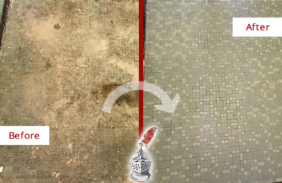 Before and After Picture of a Cedar Ridge Mosaic Shower Cleaned to Eliminate Embedded Dirt