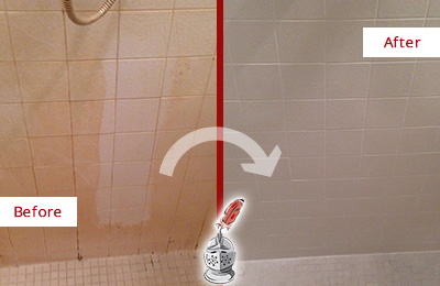 Before and After Picture of a Exeter Porcelaine Shower Cleaned to Remove Soap Scum